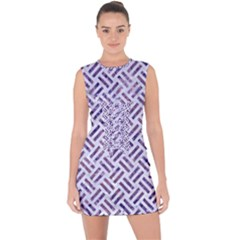 Woven2 White Marble & Purple Marble (r) Lace Up Front Bodycon Dress