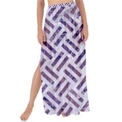 Woven2 White Marble & Purple Marble (r) Maxi Chiffon Tie Up Sarong