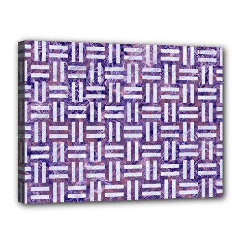 Woven1 White Marble & Purple Marble Canvas 16  X 12  by trendistuff