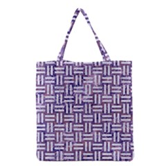 Woven1 White Marble & Purple Marble Grocery Tote Bag by trendistuff