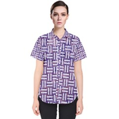 Woven1 White Marble & Purple Marble Women s Short Sleeve Shirt