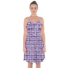 Woven1 White Marble & Purple Marble Ruffle Detail Chiffon Dress