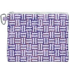 Woven1 White Marble & Purple Marble Canvas Cosmetic Bag (xxxl)