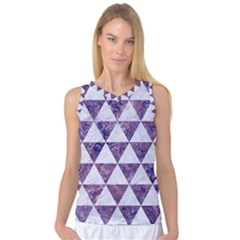 Triangle3 White Marble & Purple Marble Women s Basketball Tank Top by trendistuff