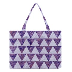 Triangle2 White Marble & Purple Marble Medium Tote Bag by trendistuff