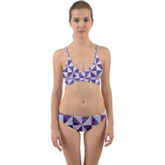 Triangle1 White Marble & Purple Marble Wrap Around Bikini Set