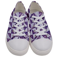 Triangle1 White Marble & Purple Marble Women s Low Top Canvas Sneakers