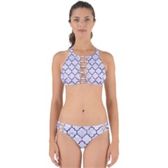 Tile1 White Marble & Purple Marble (r) Perfectly Cut Out Bikini Set