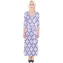 Tile1 White Marble & Purple Marble (r) Quarter Sleeve Wrap Maxi Dress