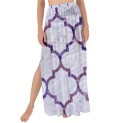Tile1 White Marble & Purple Marble (r) Maxi Chiffon Tie Up Sarong