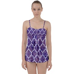 Tile1 White Marble & Purple Marble Babydoll Tankini Set