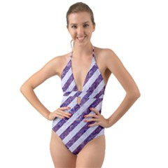 Stripes3 White Marble & Purple Marble (r) Halter Cut Out One Piece Swimsuit