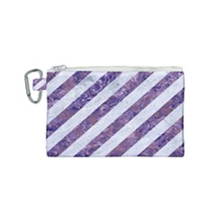 Stripes3 White Marble & Purple Marble (r) Canvas Cosmetic Bag (small)