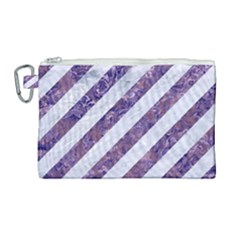 Stripes3 White Marble & Purple Marble (r) Canvas Cosmetic Bag (large)