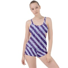 Stripes3 White Marble & Purple Marble Boyleg Tankini Set