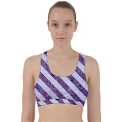 Stripes3 White Marble & Purple Marble Back Weave Sports Bra