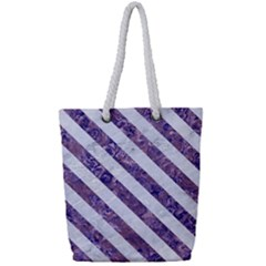 Stripes3 White Marble & Purple Marble Full Print Rope Handle Tote (small)