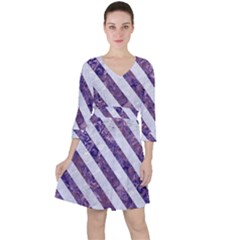 Stripes3 White Marble & Purple Marble Ruffle Dress