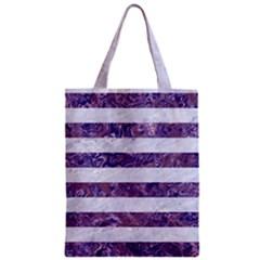 Stripes2white Marble & Purple Marble Zipper Classic Tote Bag by trendistuff