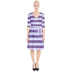 Stripes2white Marble & Purple Marble Wrap Up Cocktail Dress