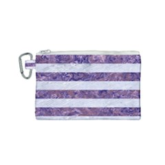 Stripes2white Marble & Purple Marble Canvas Cosmetic Bag (small) by trendistuff