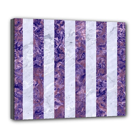 Stripes1 White Marble & Purple Marble Deluxe Canvas 24  X 20