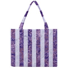 Stripes1 White Marble & Purple Marble Mini Tote Bag