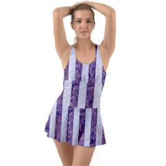 Stripes1 White Marble & Purple Marble Swimsuit