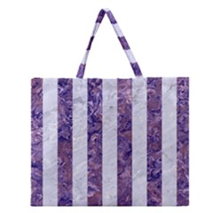 Stripes1 White Marble & Purple Marble Zipper Large Tote Bag by trendistuff