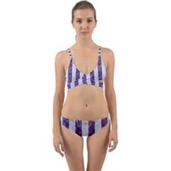 Stripes1 White Marble & Purple Marble Wrap Around Bikini Set