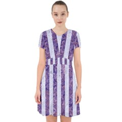 Stripes1 White Marble & Purple Marble Adorable In Chiffon Dress