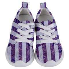 Stripes1 White Marble & Purple Marble Kids  Lightweight Sports Shoes