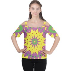 Yellow Blue Red Green Violet Purple 59 Cutout Shoulder Tee by CircusValleyMall