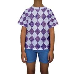 Square2 White Marble & Purple Marble Kids  Short Sleeve Swimwear