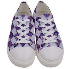 Square2 White Marble & Purple Marble Women s Low Top Canvas Sneakers