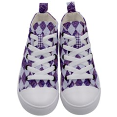Square2 White Marble & Purple Marble Kid s Mid Top Canvas Sneakers