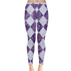 Square2 White Marble & Purple Marble Inside Out Leggings