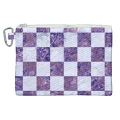 Square1 White Marble & Purple Marble Canvas Cosmetic Bag (xl)