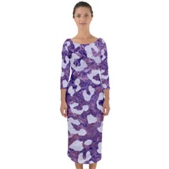 Skin5 White Marble & Purple Marble (r) Quarter Sleeve Midi Bodycon Dress