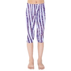 Skin4 White Marble & Purple Marble (r) Kids  Capri Leggings