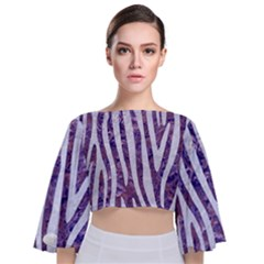 Skin4 White Marble & Purple Marble (r) Tie Back Butterfly Sleeve Chiffon Top