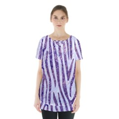 Skin4 White Marble & Purple Marble Skirt Hem Sports Top