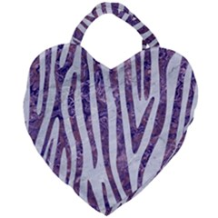 Skin4 White Marble & Purple Marble Giant Heart Shaped Tote