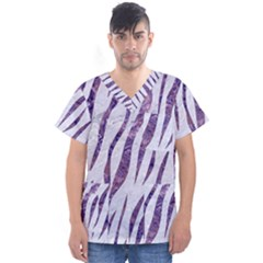 Skin3 White Marble & Purple Marble (r) Men s V Neck Scrub Top