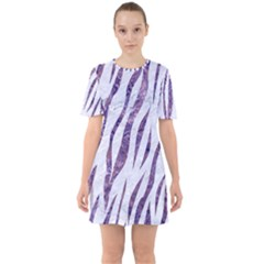 Skin3 White Marble & Purple Marble (r) Sixties Short Sleeve Mini Dress