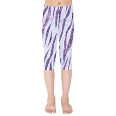 Skin3 White Marble & Purple Marble (r) Kids  Capri Leggings