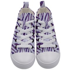 Skin3 White Marble & Purple Marble (r) Kid s Mid Top Canvas Sneakers