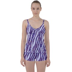 Skin3 White Marble & Purple Marble Tie Front Two Piece Tankini