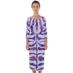 Skin2 White Marble & Purple Marble (r) Quarter Sleeve Midi Bodycon Dress