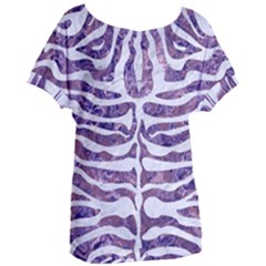 Skin2 White Marble & Purple Marble Women s Oversized Tee